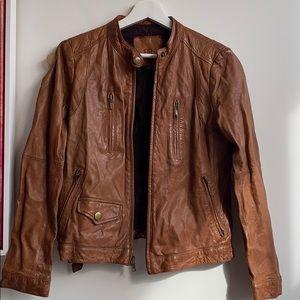 Banana Republic Brown Leather Moto Jacket
